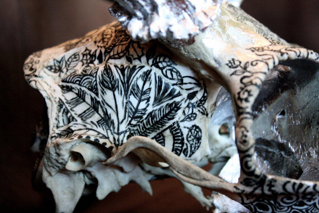 Deer skull with acrylic line work and silver leaf detailing.