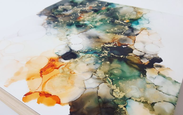 details of a triptych alcohol ink painting