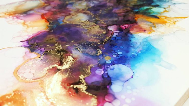 close up of details in a colourful alcohol ink painting