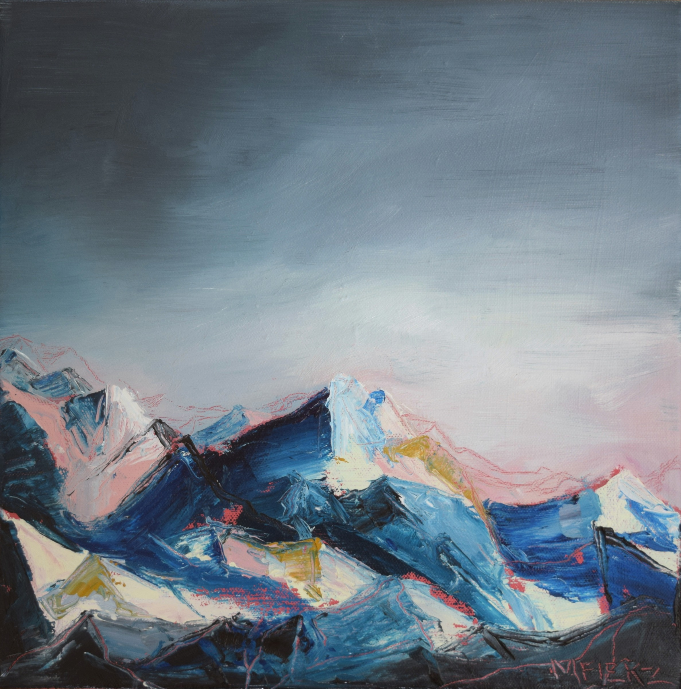 contemporary landscape oil painting of mountains at dusk