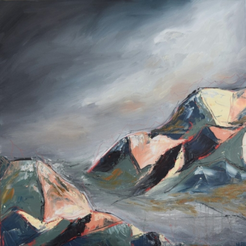 contemporary landscape oil painting of mountains in the mist